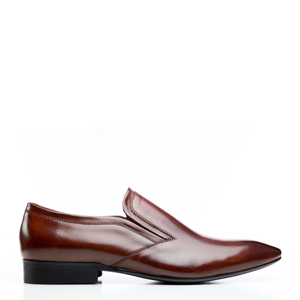 Batsanis Carson Brandy Mens Leather Slip On Shoe
