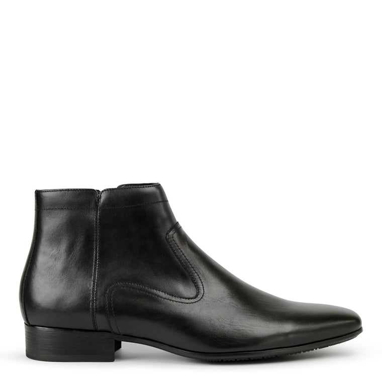 Mens Boots Batsanis Dale Black Leather Zip Up