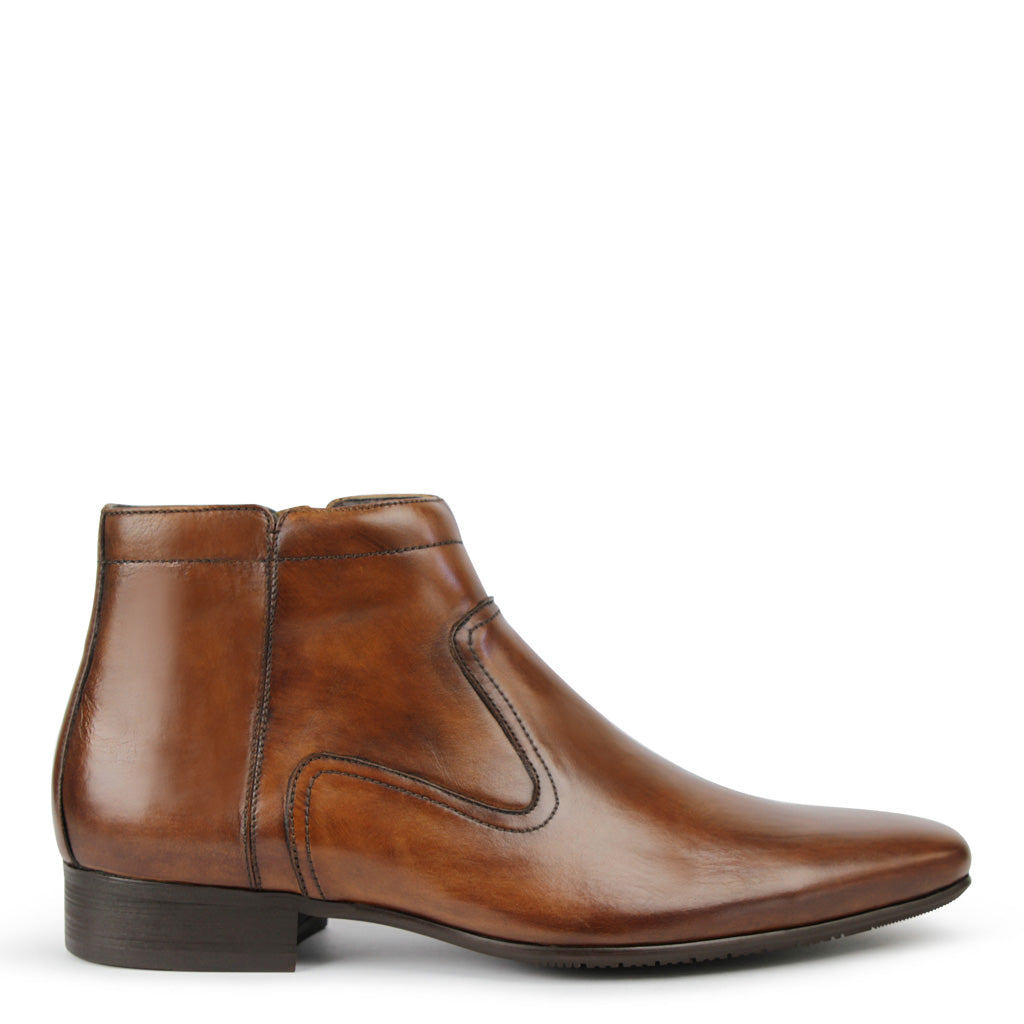 Mens Boots Batsanis Dale Whiskey Leather Zip Up