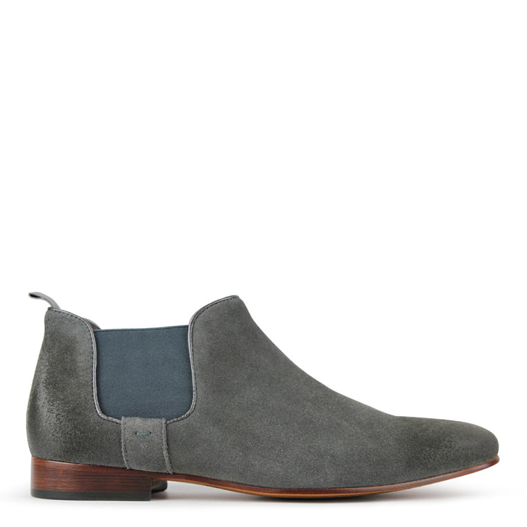 Mens Boots Batsanis Morgan Grey Suede Leather Slip On