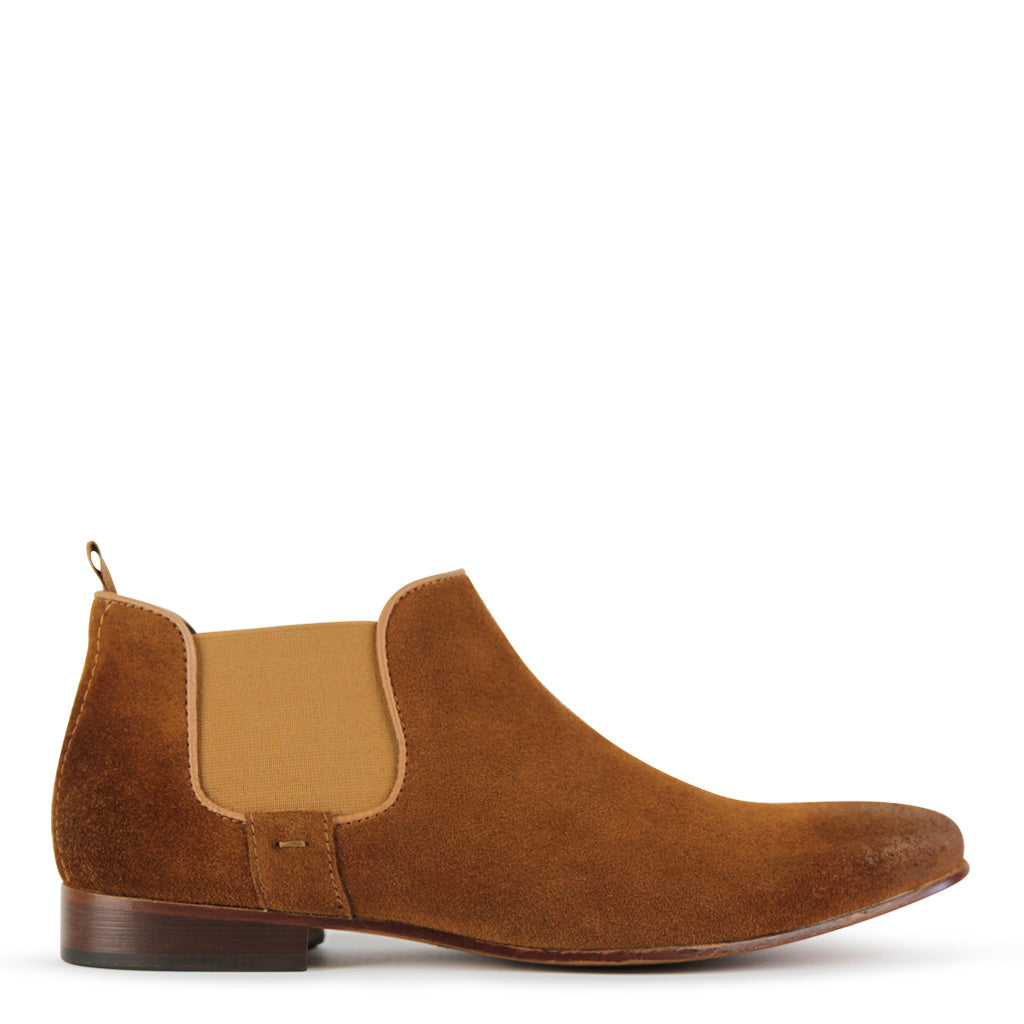 Mens Boots Batsanis Morgan Tan Suede Leather Slip On