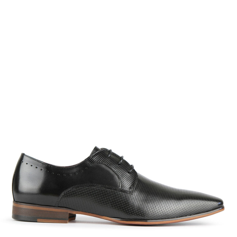 Batsanis Ray Black Leather Lace Up Mens Shoes