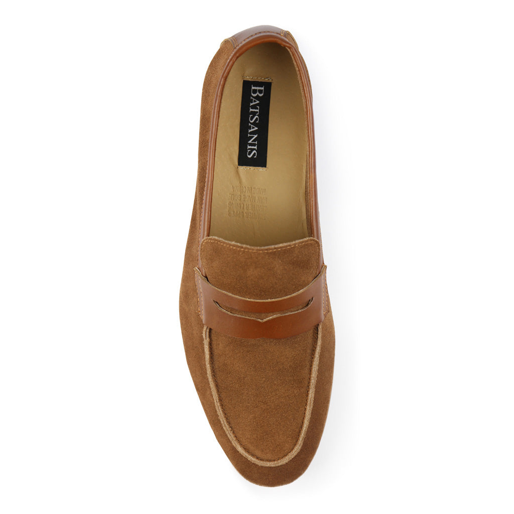 Batsanis Reece Tan Suede Mens Casual Leather Slip On Loafer