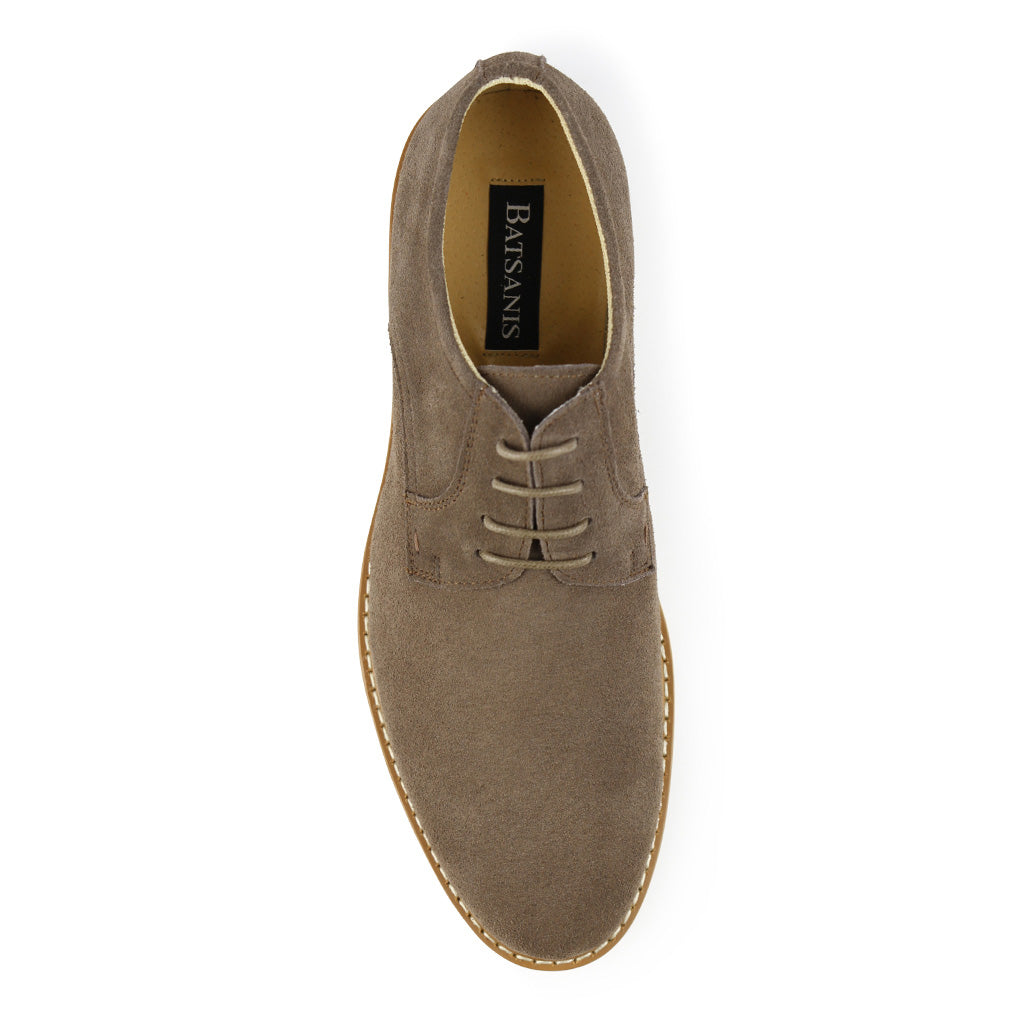Batsanis Safri Mushroom Suede Mens Casual Leather Lace Up Shoe