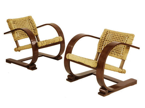 Pair of French armchairs designed by Audoux-Minet for Vibo, 1940s