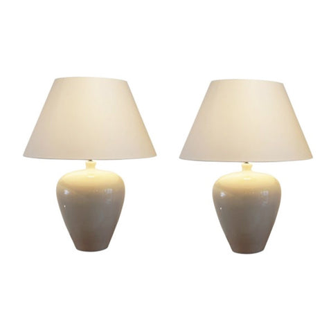 A PAIR OF CRACKLE GLAZE CERAMIC FRENCH TABLE LAMPS, 1950s