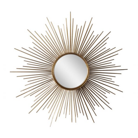 Large French Sunburst Wall Mirror from Chaty Vallauris, 1950s
