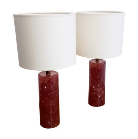 PAIR OF FRAGMENTED CRANBERRY RESIN TABLE LAMPS