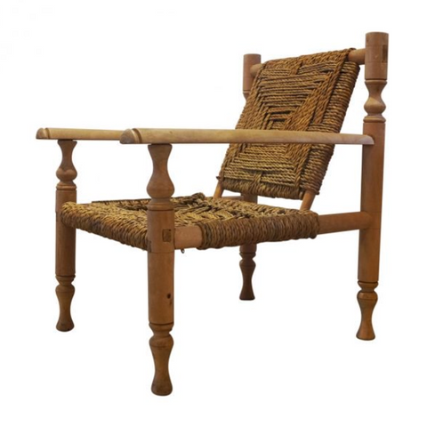 Midcentury Sisal rope Easy lounge chair, french c1950s