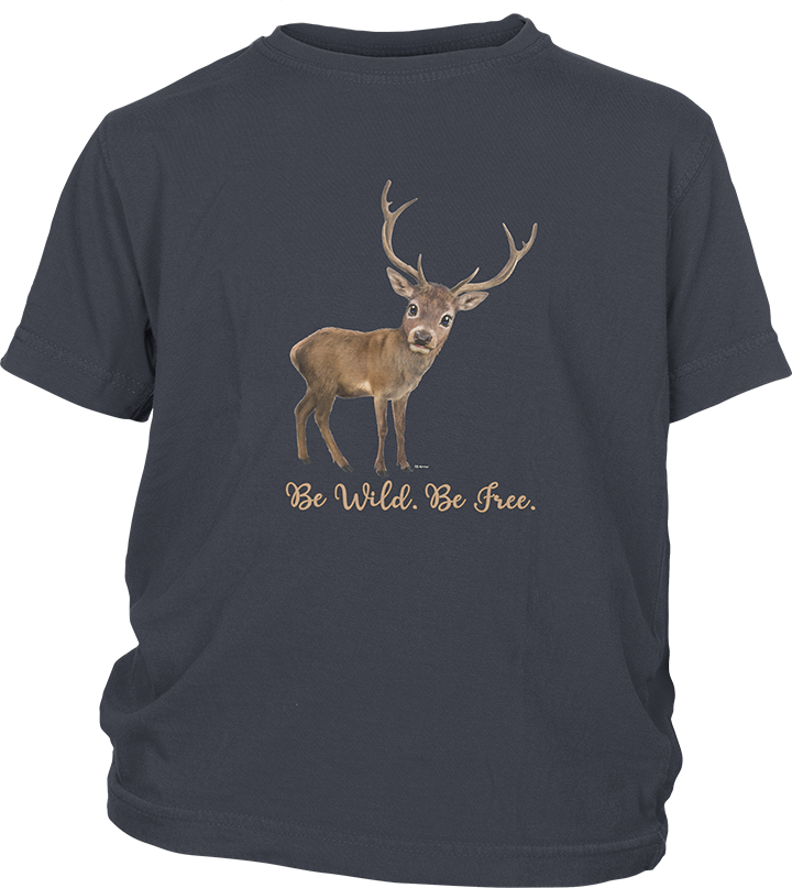 Youth Short Sleeve T-shirt with a Deer Imprint