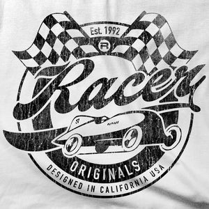 Vintage Look RACER Originals Short Sleeve White Hanes Beefy-T