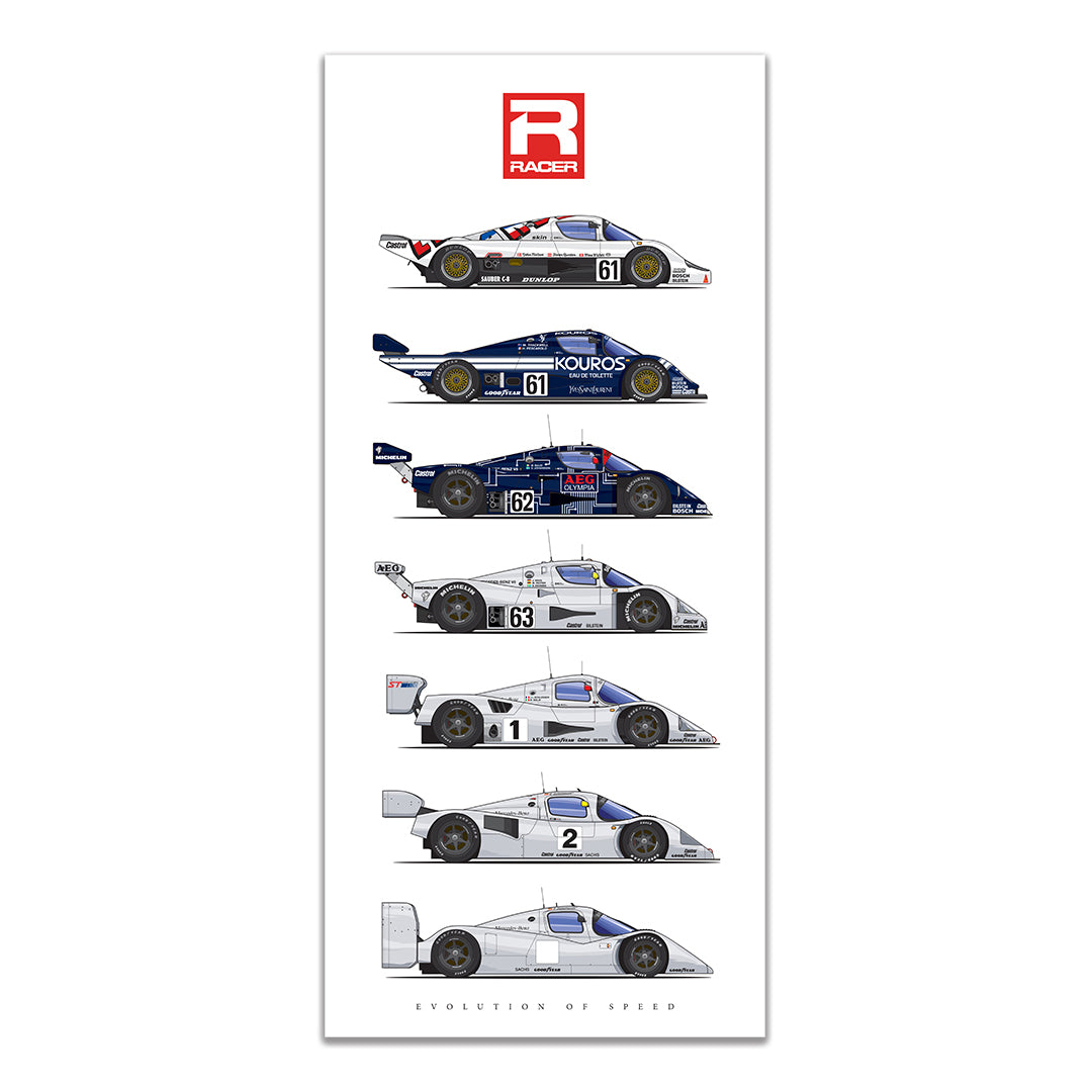 Sauber-Mecedes Evolution of Speed Poster