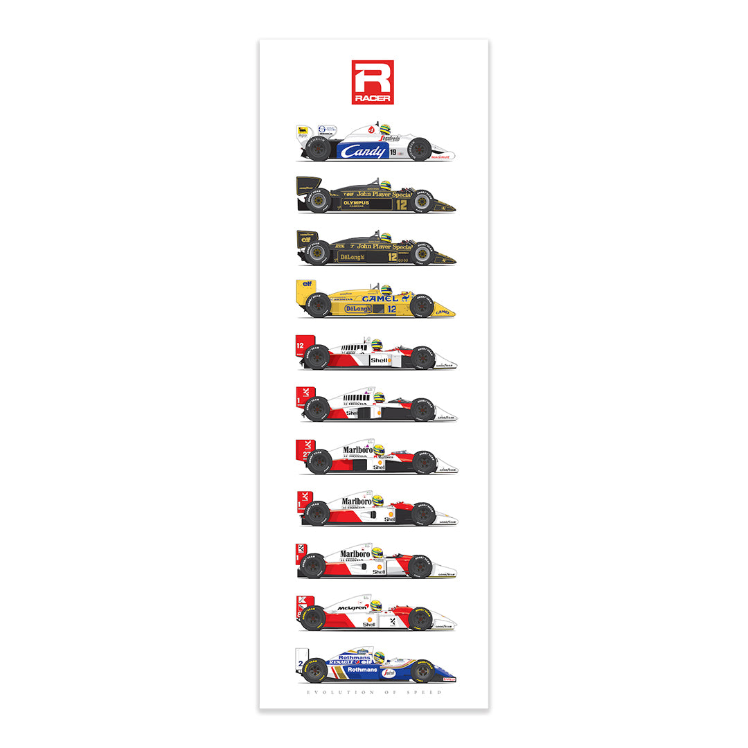 Ayrton Senna Evolution of Speed Poster