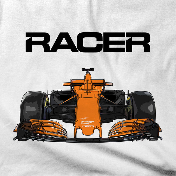 Grand Prix Car Color Line Art - White Short Sleeve T-Shirt