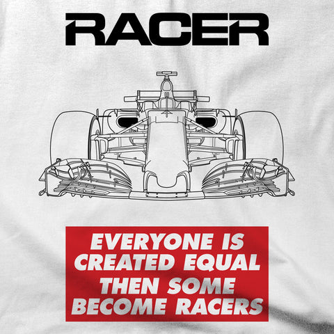 "Grand Prix Car ""Some Become Racers"" Short Sleeve White Hanes Beefy-T"