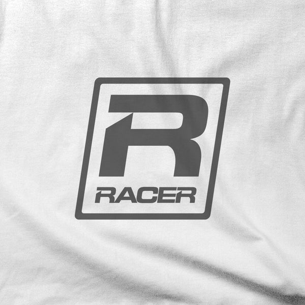 RACER Gray Skewed Logo - Short Sleeve Hanes Beefy T - 2 colors