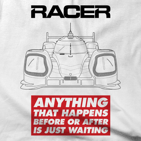 "RACER Prototype ""Just Waiting"" Short Sleeve White Hanes Beefy-T"