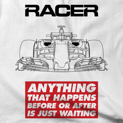 "Grand Prix Car ""Just Waiting"" Short Sleeve White Hanes Beefy-T"