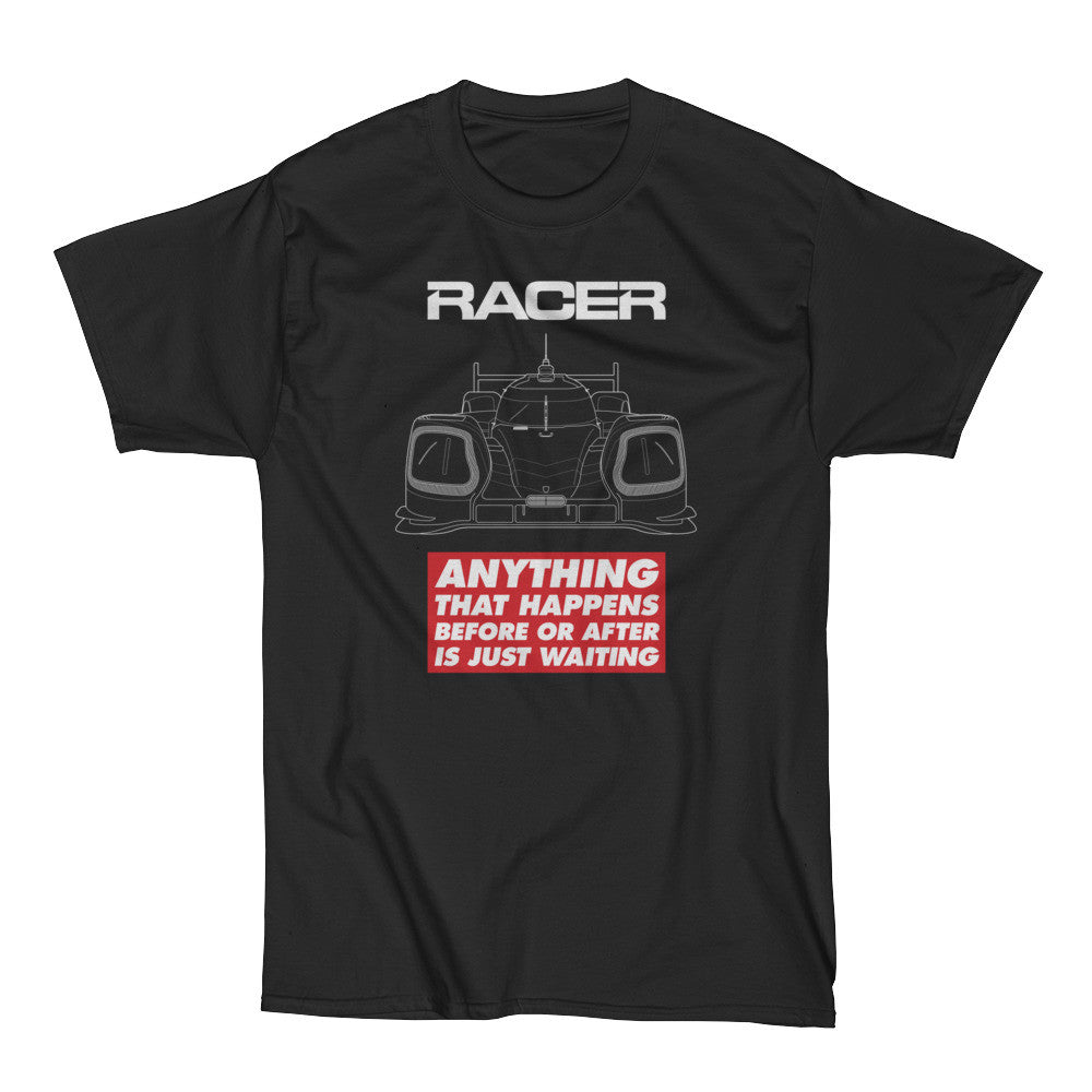 "RACER Prototype ""Just Waiting"" Short Sleeve Black Hanes Beefy-T"