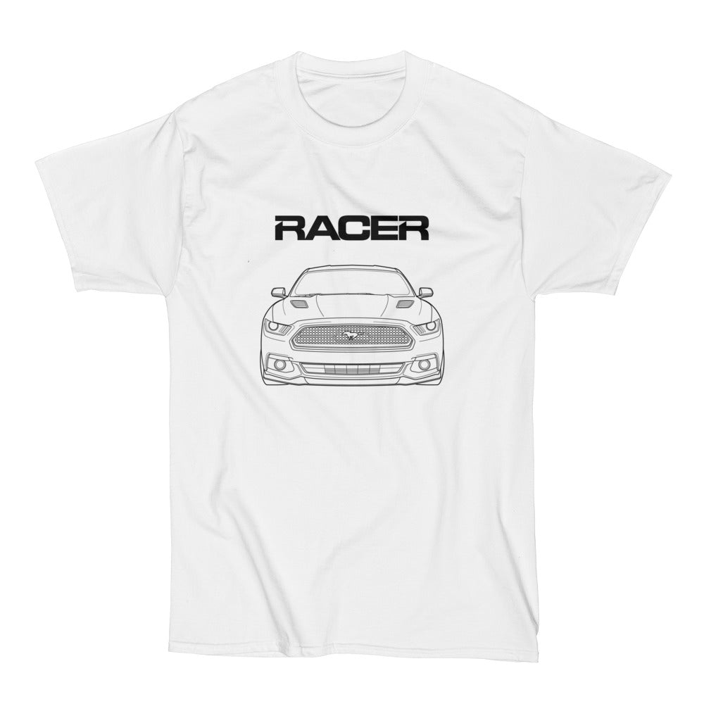 Mustang GT Line Art - White Short Sleeve Hanes Beefy-T