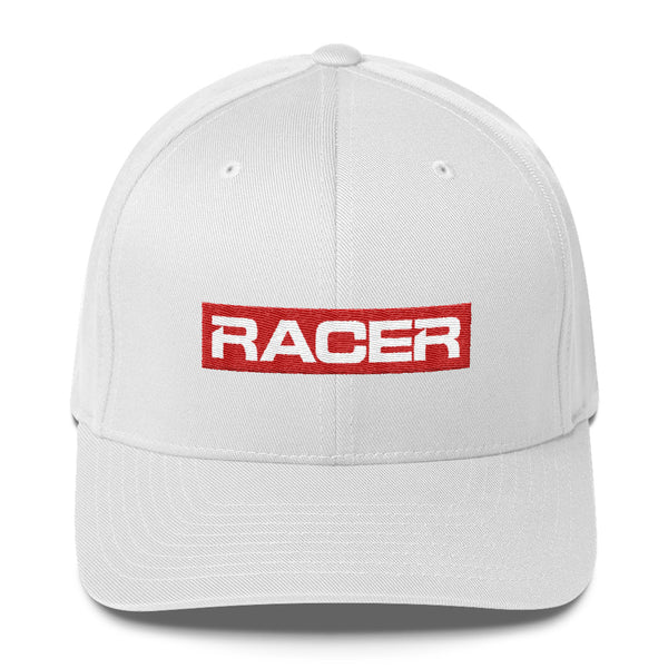 RACER Square Red & White Logo Structured Twill Cap - 3 colors