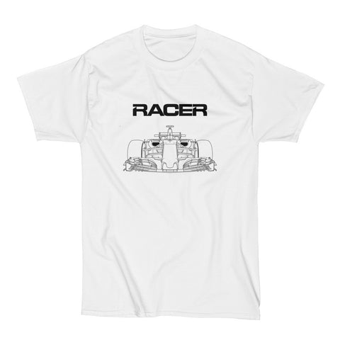 F1 Line Art - White Short Sleeve Hanes Beefy T