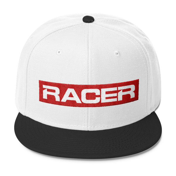 RACER Red & White Logo Wool Blend Snapback - 7 colors