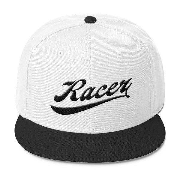 RACER Vintage Script Black Wool Blend Snapback - 4 colors