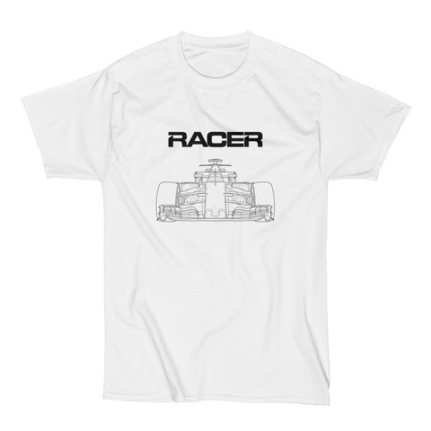 F1 Line Art 2 - White Short Sleeve Hanes Beefy T