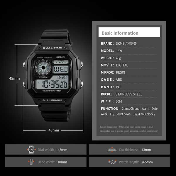SKMEI 1299 Unisex Digital Sports Watch