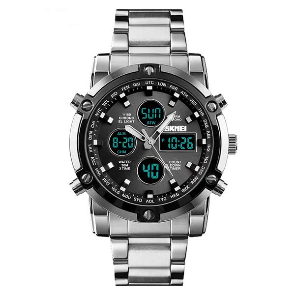 SKMEI 1389 Mens Dual Display Stainless Steel Watch