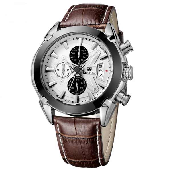 Megir 2020 Mens Leather Watch