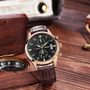 Megir 2021 Mens Leather Watch
