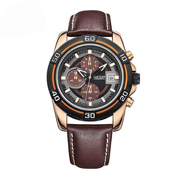 Megir 2023 Mens Leather Watch