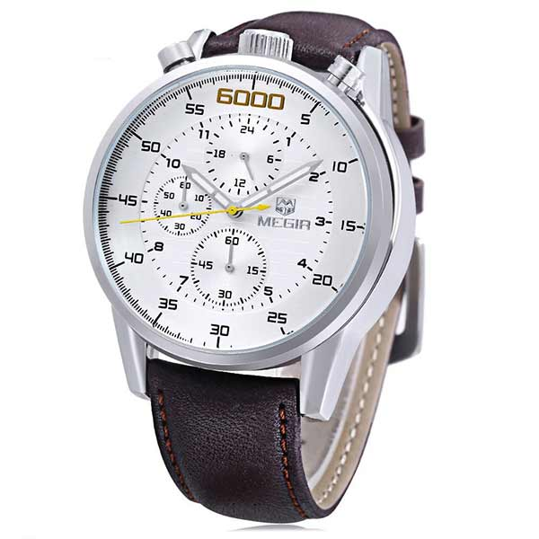 Megir 3005 Mens Leather Watch