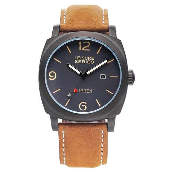 Curren 8158 Dated Mens Leather Watch