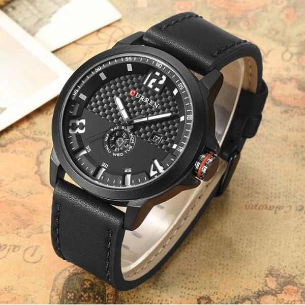 Curren 8253 Dated Mens Leather Watch