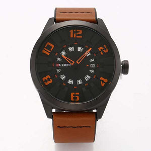 Curren 8258 Dated Mens Leather Watch