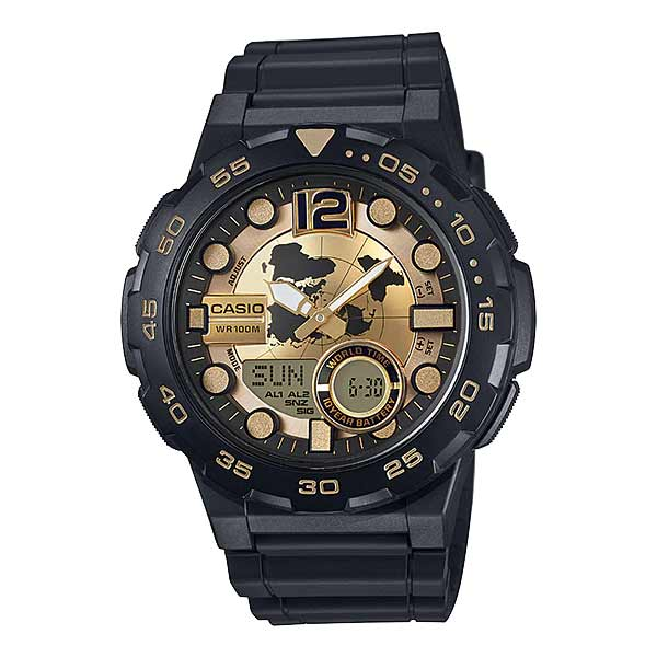 Casio AEQ-100BW-9AVDF Dual Display Mens Resin