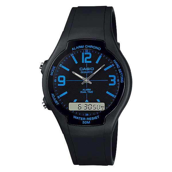 Casio AW-90H-2BVDF Dual Display Unisex Resin