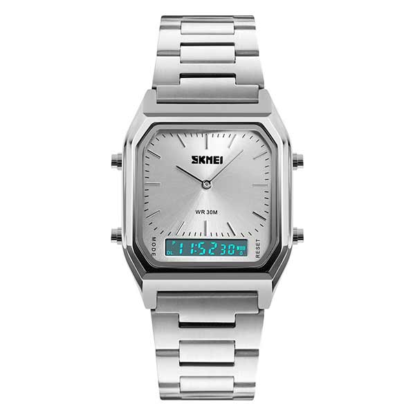 SKMEI 1220 Unisex Dual Display Stainless Steel Watch