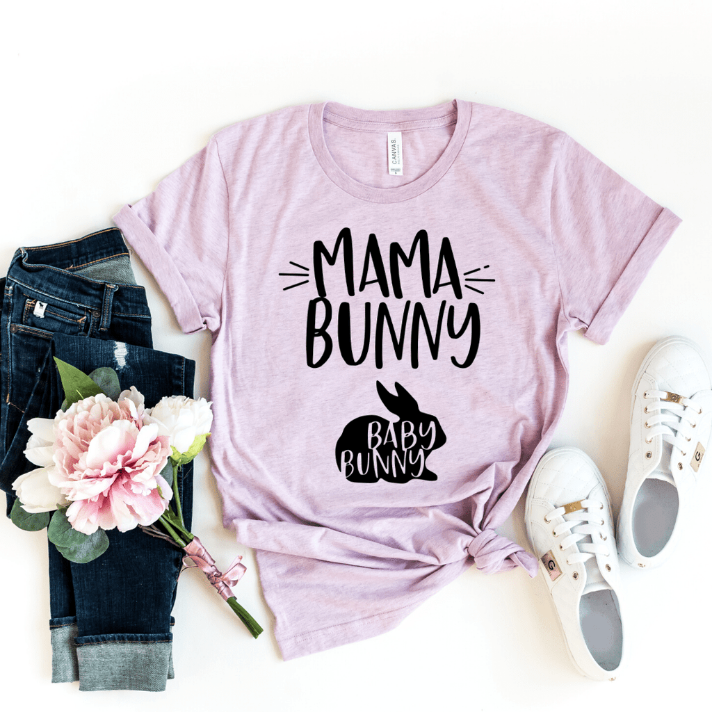 Mama Bunny and Baby Bunny Funny Easter Pregnancy Shirt, Mom to be, Pregnancy Unisex Baby Shower Gift, Pregnancy and Mommy to be Outfit, Heather Prism Lilac