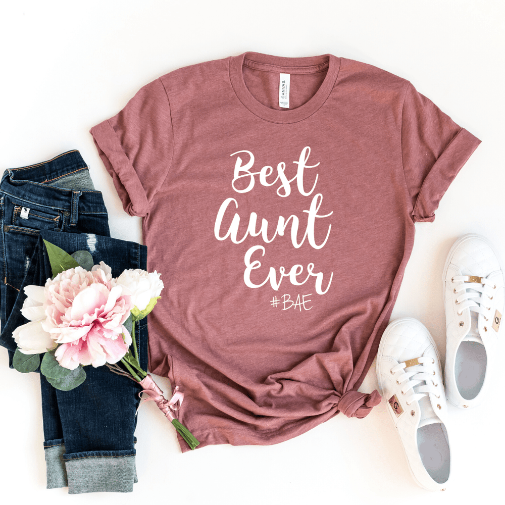 BAE Best Aunt Ever Shirt, Aunt Shirt, New Aunt, Christmas Gift for Aunt, Auntie, Aunt To Be Shirt, Favorite Aunt, Like a Mom Only Cooler, Heather Mauve