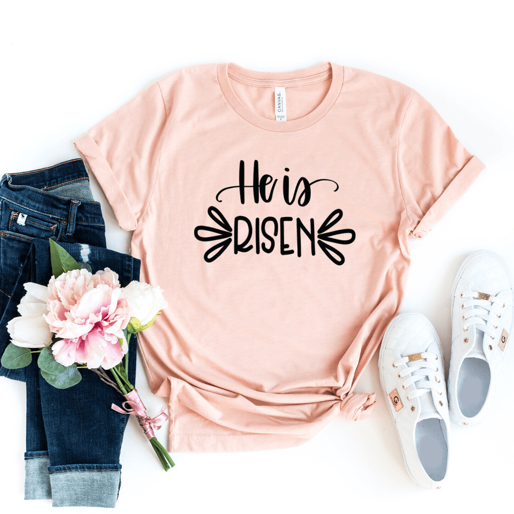 He Is Risen Shirt, Women's Easter Shirt, Easter Top, Ladies Easter Shirt, Christian Easter Shirt, He Is Risen Indeed, Heather Peach