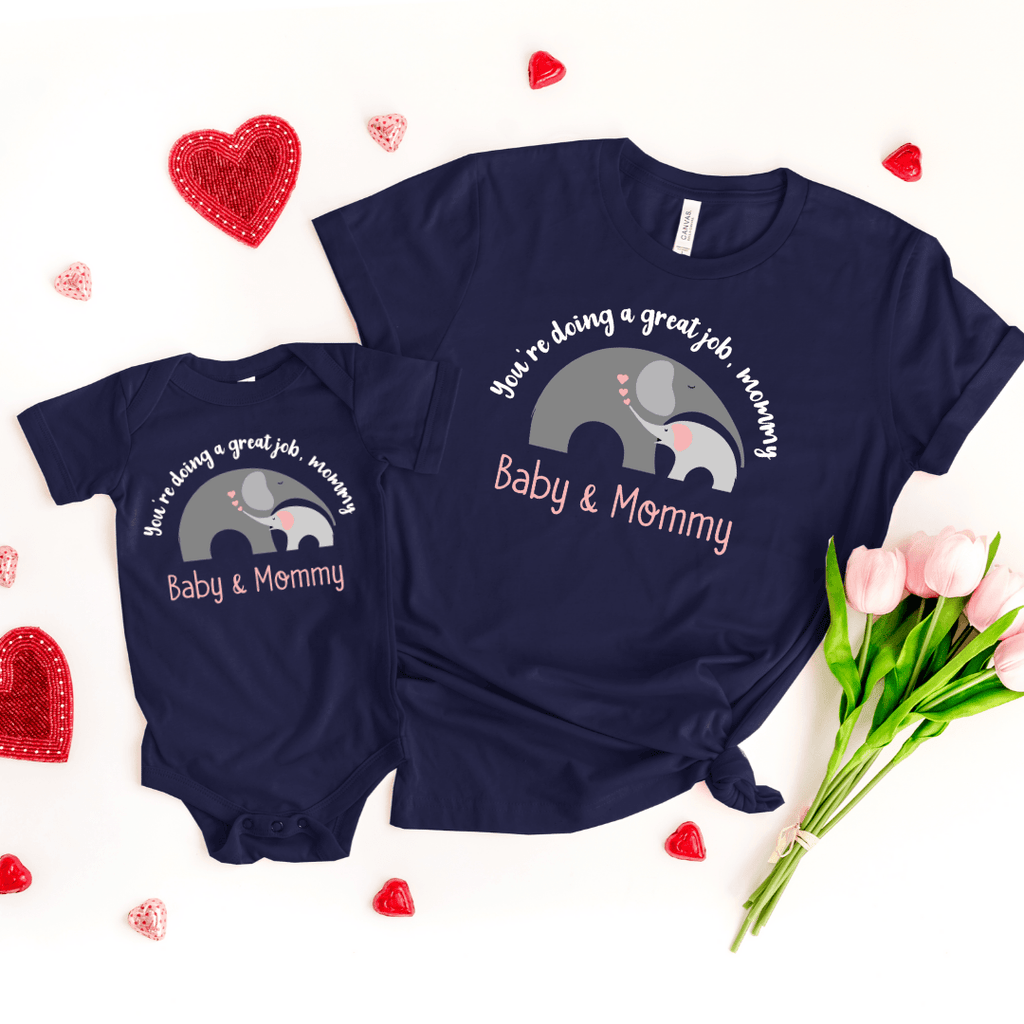 Mommy and Me outfits Mama Baby Cute Shirt Mother's Day Shirt bodysuit Boho Elephant Baby Shirt for Mom and Girl Best Mama shirt, Navy