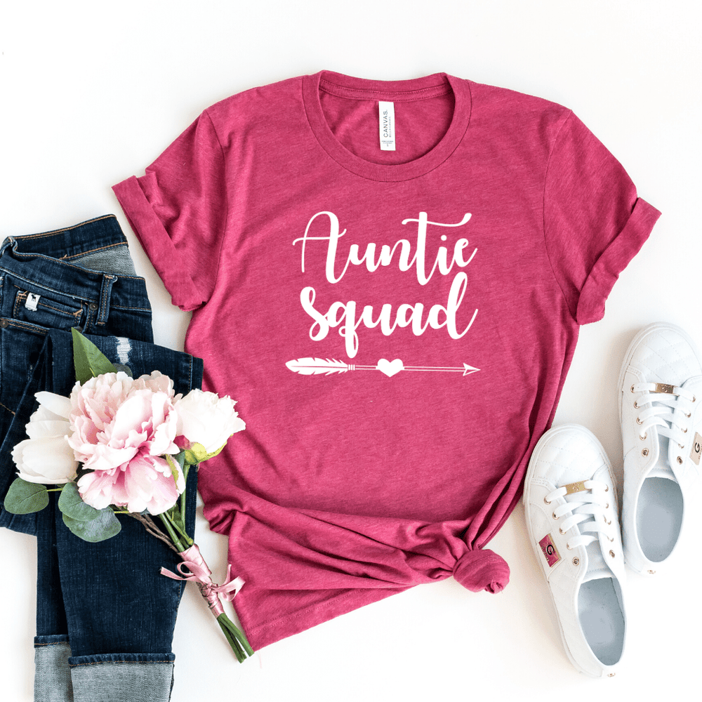 Auntie Squad Shirt, Funny Auntie Shirt, Auntie T-shirt, Auntie Gift, Funny Aunt Shirt, Aunt Gift, Mother's Day Gift, Birthday Gift, Pregnancy Announcement Baby Shower, Heather Raspberry