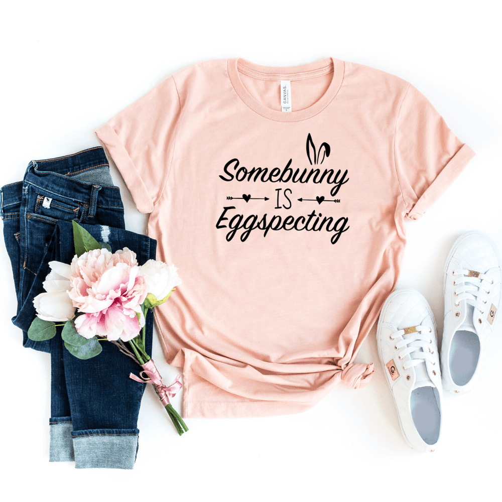 Arrow Some Bunny is Eggspecting! Funny Easter Pregnancy Shirt Mom to be Pregnancy Unisex Baby Shower Gift Pregnancy and Mommy to be Outfit, Heather Peach