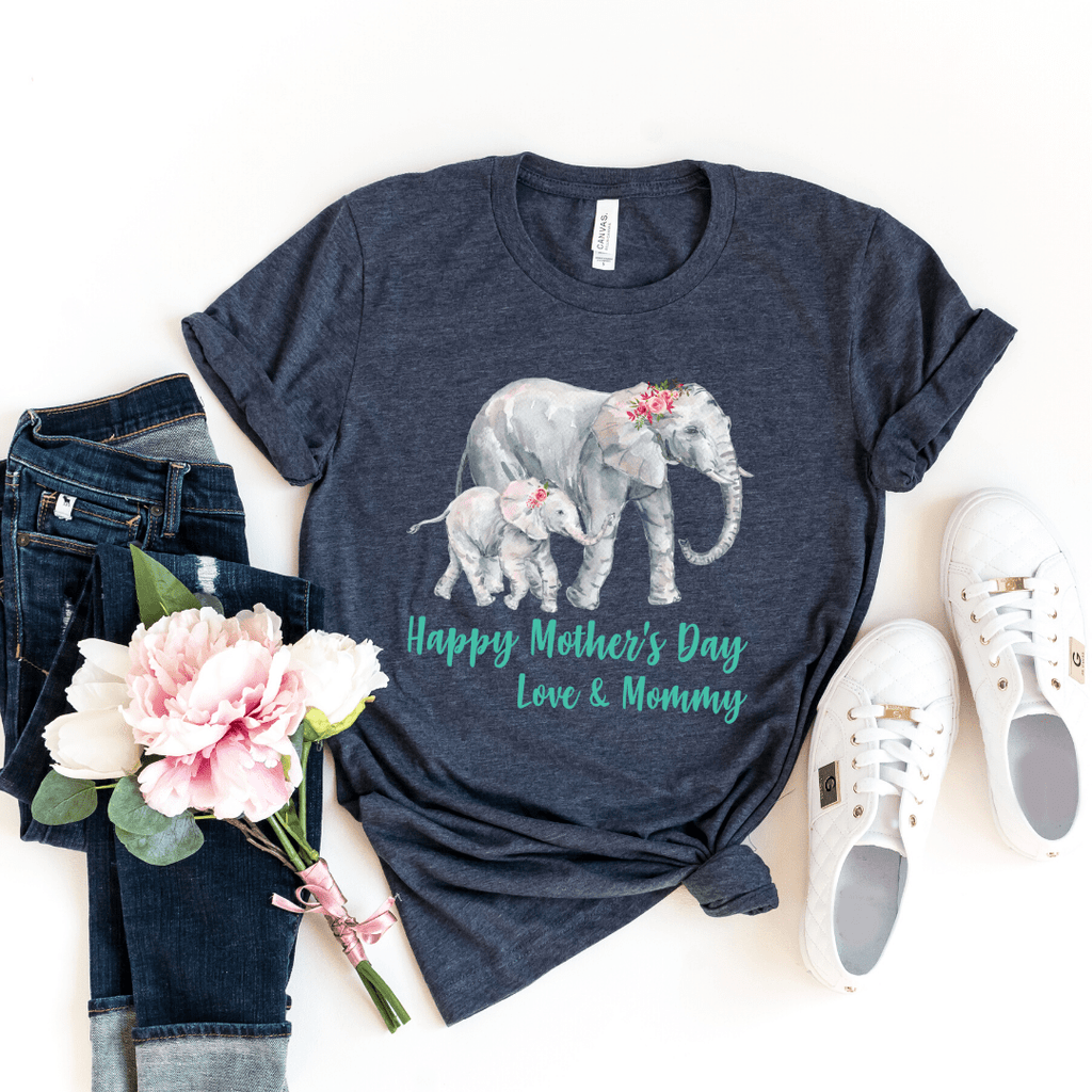 Our First Mothers Day Shirts, Mommy & Me T-Shirts, Matching Mom and Baby Bodysuit, Mother Day Shirt, Baby and Mama Elephant, Mommy and Me Shirt Set Mama Elephant Baby Shirts Mother and Daughter Shirts,  Mothers Day Gift Mommy and Me Outfits, Heather Navy