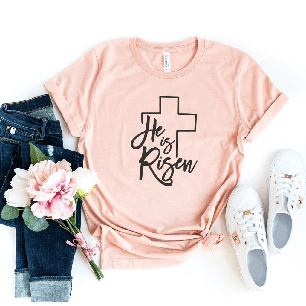 Easter Shirt, He Is Risen Shirt, Women's Easter Shirt, He Is Risen Indeed, Easter Top, Ladies Easter Shirt, Christian Easter Shirt, Cross, Heather Peach