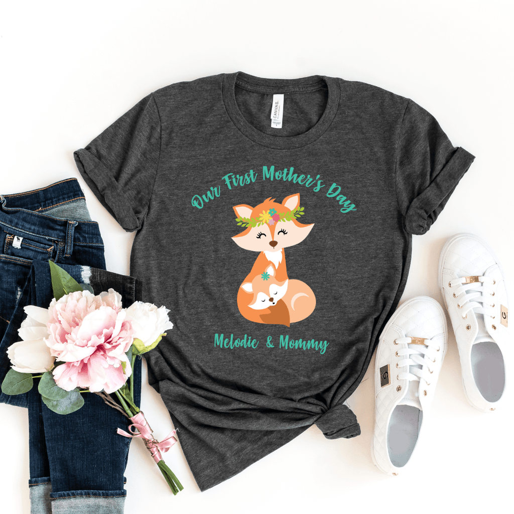 Our First Mothers Day Fox Personalized Bodysuit, first mothers day outfit baby girl, mothers day shirt for mom and daughters Fox Mothers Day Shirt, Dark Gray Heather